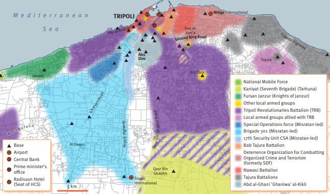 Mappa delle milizie nel territorio di Tripoli a giugno 2018_Fonte Security Assessment in North Africa