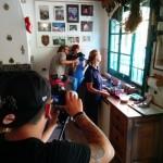 Andrea Storchi e Giulia Vianelli durante le riprese con Antonia